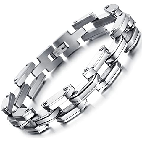 Ostan - Men's Jewelry 316L Stainless Steel Cuff Bracelet Bangle Links Wrist - Silver