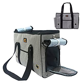 GossipBoy Stripe Pet Airline Approved Outdoor Travel Carrier Portable Dog Cat Handbag Oxford Kitten Puppy Tote Bag with… 20