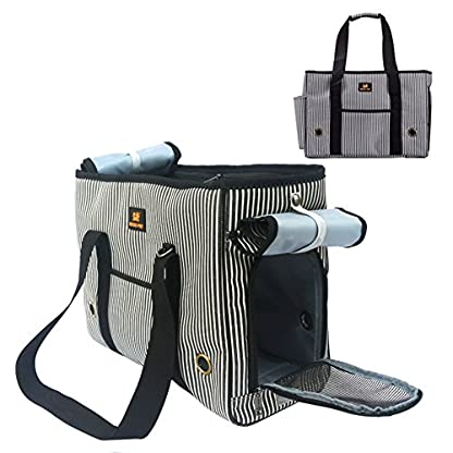 GossipBoy Stripe Pet Airline Approved Outdoor Travel Carrier Portable Dog Cat Handbag Oxford Kitten Puppy Tote Bag with… 1