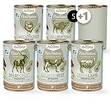 AniForte® PureNature Nassfutter 5+1 getreidefrei Probierpaket 6x400g Huhn Büffel Wild Lamm Rind Hundefutter- Naturprodukt für Hunde