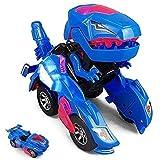 ZHUYU Transformeren Dinosaur Led Car, Dinosaur Transformer auto speelgoed auto verandert in dinosaurus met LED licht en muziek, Transformer Toys Grote Giften for 3-12 Year Old Boys Girls (Kleur: Blauw
