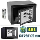Electronic Digital Offenes Feuer Safe Box mit 2Schlüssel Stahl Sicherheit Geld Cash Schmuck wichtiges Dokument Safety Box Home Office 17x 23x 17cm (Schwarz)