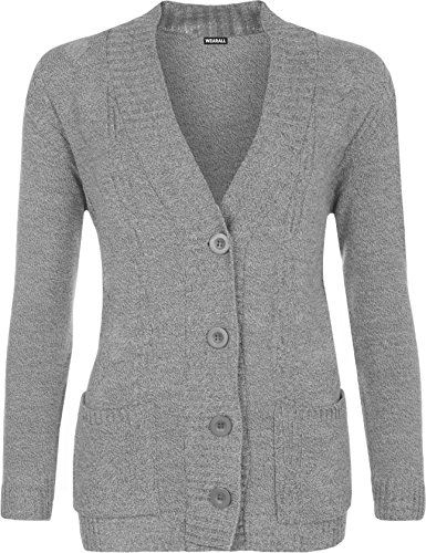 WearAll - Grande Taille Bouton manches longues Pocket Haut Ladies Cardigan en maille - Cardigans - Femmes - Grande Tailles 42 à 48 Gris
