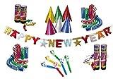 KarnevalsTeufel Party-Set für Silvester, Dekoration | Happy New Year Girlande, Luftschlangen-Kanonen, Partyhüte, Partytröten, Luftschlangen | bunt