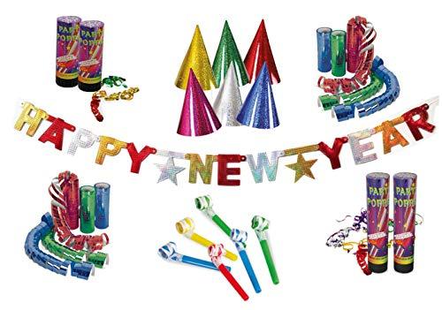 KarnevalsTeufel Party-Set für Silvester, Dekoration   Happy New Year Girlande, Luftschlangen-Kanonen, Partyhüte, Partytröten, Luftschlangen   bunt