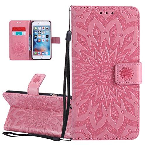 Custodia per Apple iPhone 6 Plus, ISAKEN iPhone 6S Plus Flip Cover, 5.5 inch Custodia con Strap, Elegante Sbalzato Embossed Design in Pelle Sintetica Ecopelle PU Case Cover Protettiva Flip Portafoglio girasole: rosa