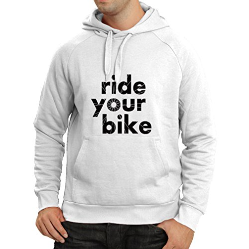 Felpa con cappuccio Ride your Bike Bianco Nero