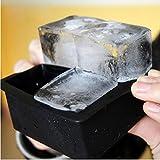 4 Gitter Silikon Eiswürfelform Silikon-Eiswürfelform Gin Whisky & Brandy Ice Cube Tray 10*10*5CM Die trendige Eiswürfelform Silikon zum Erstellen Eiskugeln Einfache Entfernung der Eiswürfelformen (Schwarz)