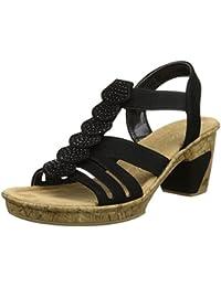 Rieker Damen 69702 Offene Sandalen mit Keilabsatz