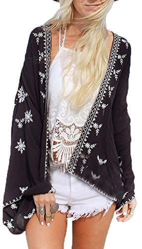 Jusfitsu Damen Sommer Boho Chiffon Kimono Stil Gedruckt Tops Jacke Cardigan Blusen Beachwear