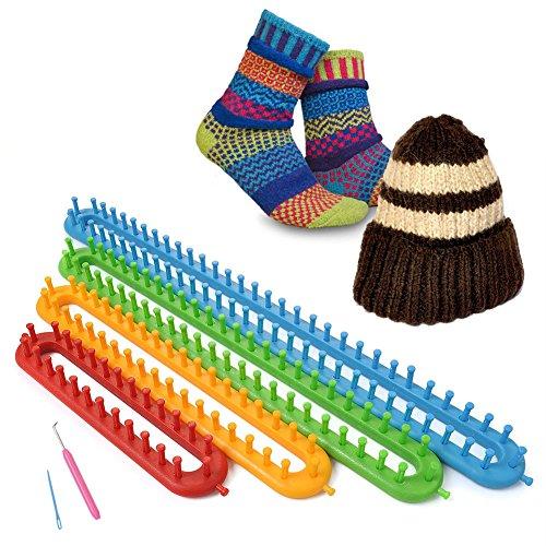 hongfei Lange stricken Loom Set -4 verschiedene Webstühle mit Haken und Nadel - DIY Schal Schal Hut für beste Geschenke