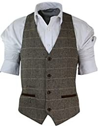 Gilet homme vintage tweed à carreaux et chevrons marron tan gris charbon coupe cintrée bordure en velours