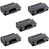 5 Compatibles MLT-D205L Cartuchos de tóner para Samsung ML-3310 ML-3310ND ML-3312ND ML-3710 ML-3710ND ML-3712DW ML-3712ND SCX-4833 SCX-4833FD SCX-4835FR SCX-5637FR SCX-5639FR SCX-5737FW SCX-5739FW - Negro, Alta Capacidad