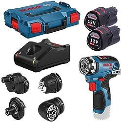 Bosch Professional 06019H3000 Perceuse-Visseuse sans Fil GSR 12V-35 FC, avec 2 batteries 3.0 Ah Li-Ion, Set Daccessoires, L-Boxx, Bleu