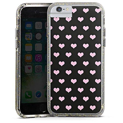 Apple iPhone X Bumper Hülle Bumper Case Glitzer Hülle Hearts Herzen Pink Bumper Case Glitzer gold