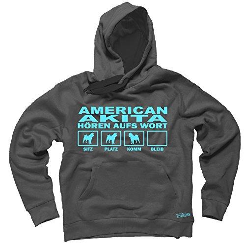 AMERICAN AKITA Inu USA - HÖREN AUFS WORT Unisex Hoodie Kapuzensweatshirt Pullover Fun Siviwonder dark grey S (Hoodie Akita Herren)