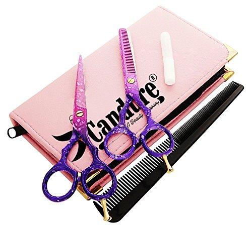 CANDURE® Professionell Haarscheren Set - friseurscheren - Haarschneideschere - Friseurschere set - Mikroverzahnt Effilierschere Modellierschere Friseur Scheren Set, 5.5'' (13,97cm), Rosa und Lila