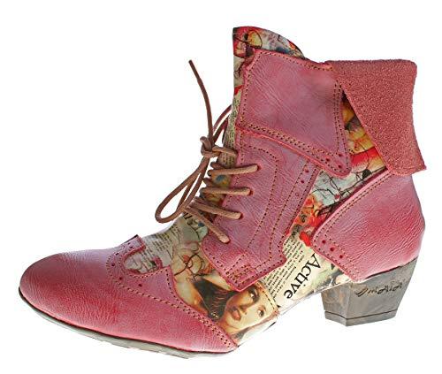 TMA Damen Stiefeletten Echtleder Comfort Boots Leder Halb Schuhe TMA 6188 Rot Gr. 39