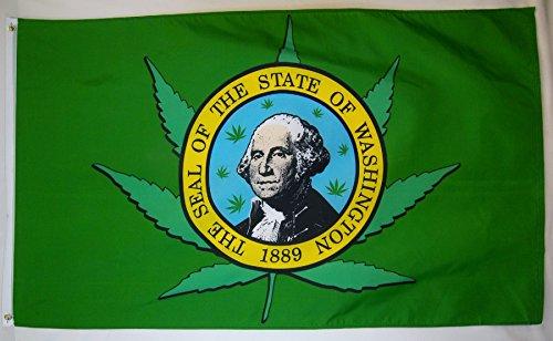 Washington State mit Marihuana Pot Leaf Weed Flagge Polyester 3x 5Fuß New 3x 5 - Flagge Pot Leaf