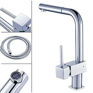 Auralum 360 rubinetto di lavabo con canna alta flessibile - Rubinetto bagno cascata ...