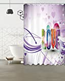 Love,Purple/Decor Shower Curtain,59 W X 71 H Inch,Water Resistant Polyester Fabric Bathroom Decoration Curtain