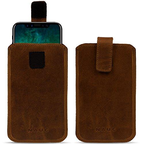 Leder Tasche für Apple iPhone Serie Pull Tab Sleeve Hülle Schutzhülle Lederhülle Case Cover Ledertasche, Farbe:Schwarz, Smartphone:Apple iPhone 8 Plus dunkel Braun