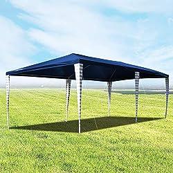 wolketon Hochwertiger Pavillon 3x6m ohne Seitenteilein Blau Partyzelt Gartenpavillon für Garten Terrasse Feier Markt als Unterstand Plane Dach