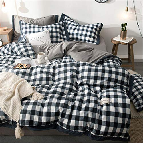 BFMBCH Bettwäsche aus Baumwolle im britischen und amerikanischen Stil, einfach gestreift, kariert, Bettbezug aus Baumwolle E 240 cm * 220 cm