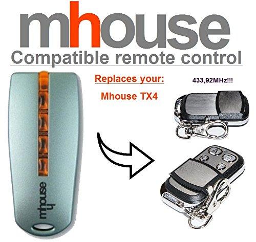 31ee648d37e Mhouse TX4 Compatibile Telecomando, 4-canali 433,92Mhz rolling code  sostituzione radiocomando.