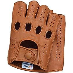 Riparo Guantes de Moto de conducción de Dedo Medio sin Dedos cosidos en reversa de Cuero Genuino para Hombre XX-Grande Coñac