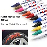 12Farben Reifen-Paint Marker Stift Für KFZ Reifen Permanent und wasserfest schnelltrocknend Paint Pen