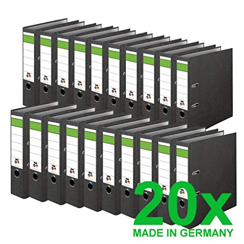 DINOR™ Ordner-Wolkenmarmor-Recycling - Das Original - Made in Germany. 20er Pack 8 cm breit DIN A4 schwarz Aktenordner Briefordner Büroordner Pappordner Schlitzordner Grüner Balken Blauer Engel