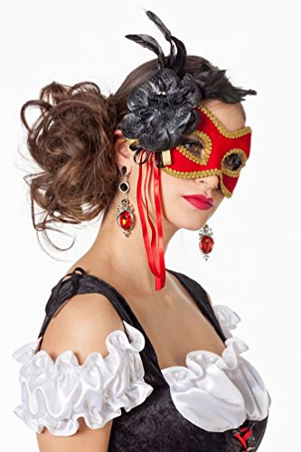 Karneval-Klamotten Venezianische Masken Damen Venezianische Maske rot Gold mit Federn und Blume Luxus Augenmaske Venedig Venezianisch für Maskenball