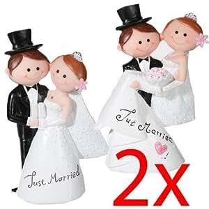 ROMANTIC WEDDING CAKE TOPPER FIGURE BRIDE & GROOM COUPLE BRIDAL DECORATION RESIN