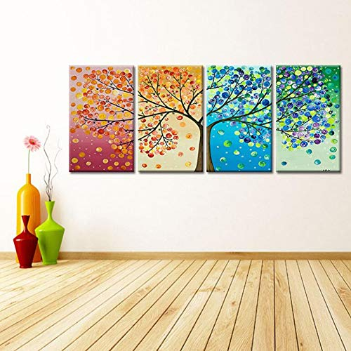 Ysds-jz 4 pannello 100% quattro colori albero della vita pittura a olio su tela wall art pronto per appendere nuova camera da letto moderna decorazione della casa,40 * 60cm*4