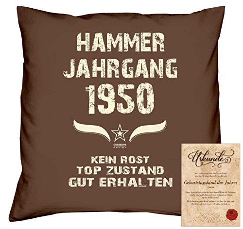 tag Deko-Kissen Sofakissen Dekokissen Jahreszahl Aufdruck Hammer Jahrgang 1950 :-: Größe: 40x40cm und Urkunde Farbe: braun (1950 Deko-ideen)
