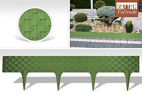 3,2 m Bordure gazon pelouse à planter Plate-bande en UE Clôture Effet rotin vert