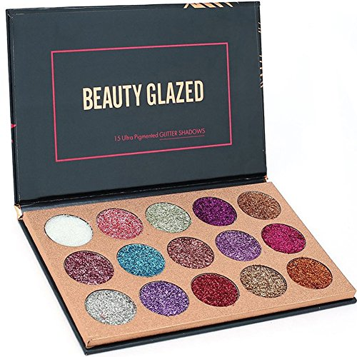 ROMANTIC BEAR 15 Farben Schimmer Glitzer Diamond Rainbow Pigment Lidschatten Palette Nude Beauty Make-up
