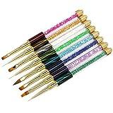 Ushion 8 pezzi Set Pennelli Nail Art Professionali Per Gel UV/Acrylic/Shellac,Capelli di Nylon Design Rhinestone Glitterato Kit Pennelli Nail Art Detailing/Scolpire/Fioritura/La pittura/Disegno/Ombre