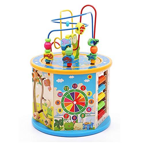 GZXGXY Holz Activity Cube 8 in 1 Kinder Lernen Spielzeug Perlen Labyrinth Form Sorter Bildung Entwicklung Kinderspielzeug Geschenke 1 2 3+ Jahre Jungen und Mädchen