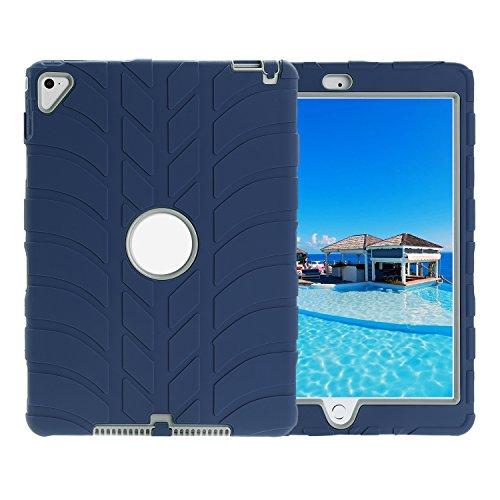 TKOOFN Ibrida Armatura Custodia in Silicone Forma di Battistrada Cover Protettivo per iPad Air2 Pro9.7(Blu Scuro)