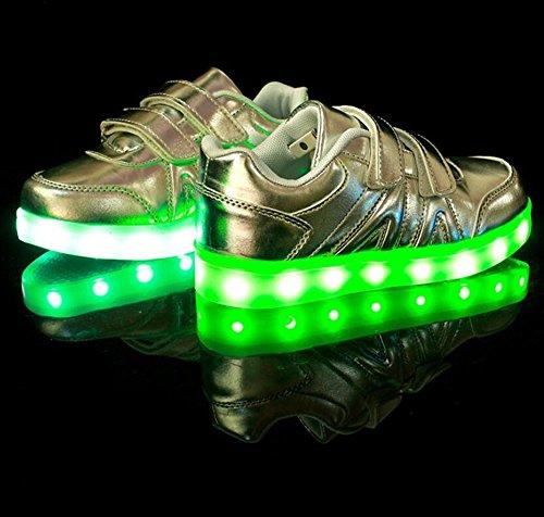 Wealsex Baskets Mode Scratch PU Cuir LED Lumière Clignotant 7 couleurs USB Rechargeable Noir Blanche Or Argent Enfant Unisexe Garçon Fille Argent