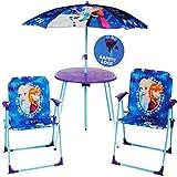Unbekannt 4 TLG. Set: Sitzgruppe - Tisch + 2 Kinderstühle + Sonnenschirm / höhenverstellbar -  Disney Frozen - die Eiskönigin  - für Kinder - Campingstuhl - Klappstüh..