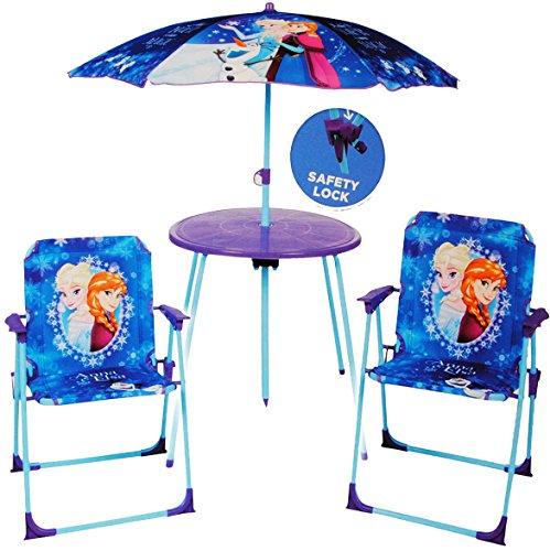 alles-meine.de GmbH 4 TLG. Set: Sitzgruppe - Tisch + 2 Kinderstühle + Sonnenschirm / höhenverstellbar -  Disney Frozen - die Eiskönigin  - für Kinder - Campingstuhl - Klappstüh.. (Jungen-kleinkind-stuhl Disney)