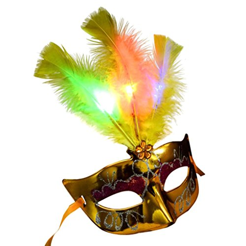 Halloween Maske, HARRYSTORE Damen LED Faser Masken Maskerade Fantasie Partei Prinzessin Feder Masken für Halloween Partei (Tier Verkauf Masken Zum)