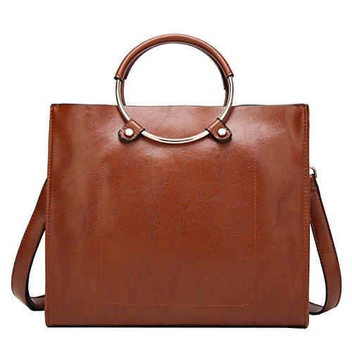 Damen Große Tasche Schulter Messenger Bag Handtasche Große Kapazität Weibliche Tasche,Brown-OneSize Laidaye