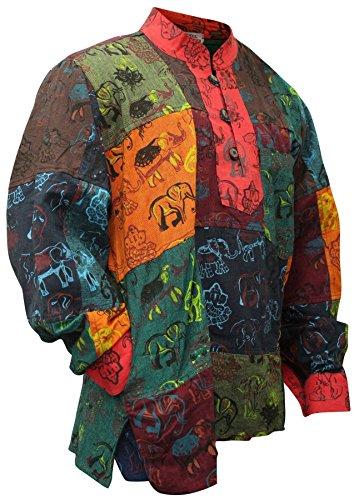 Herren Opa Kostüm - Shoppoholische Mode Herren Sommer Bunt Opa Hippie Shirt Gr. XXL, Multi