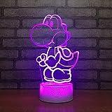 Mario 3D LED Lampe USB Jeu De Bande Dessinée Figure Super Acrylique Nouveauté Éclairage De Noël Cadeau RGB Touch Télécommande Jouets,7colortouch