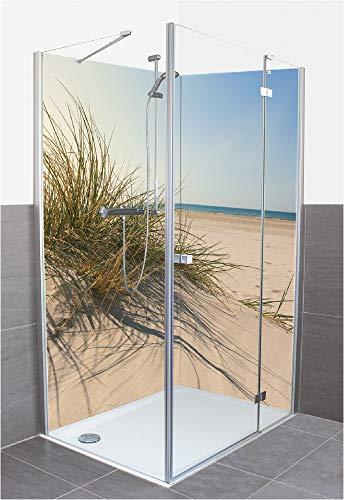 Artland Qualität I Duschrückwand Fliesenersatz Bad Duschwand Motiv Landschaften Küste Meer Foto Creme F7OT Strandgras im Sonnenlicht