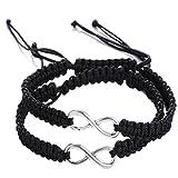 Shlonger 2Pcs Women Men Handmade Infinity Forever Lovers Friendship Family Braided Couple Cuff Link Strentch Bracelets